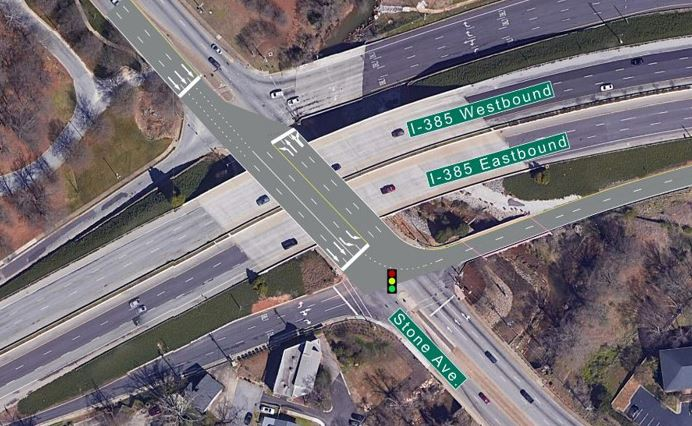 Rendering showing redesigned intersection of I385 and Stone Avenue