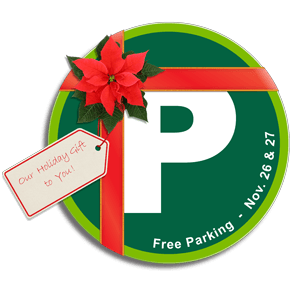 parking p logo wrapped in a holiday ribbon